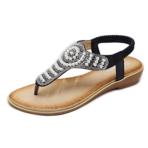 Rhinestone Studded Sandal (KUONUO Women's Sandals Flats Crystal Rhinestone Shoes Beaded Studded Glitter Summer Flat Sandals Black 7 B(M) US)