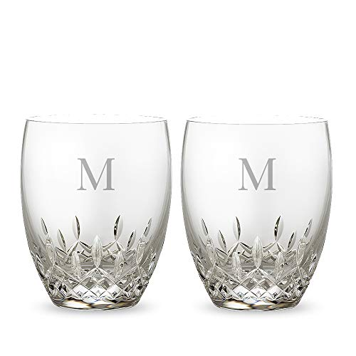 (Personalized Waterford Crystal Lismore Essence DOF Pair Engraved & Monogrammed - Great for Groomsmen or Home Bar - Great Gift for Father's Day, Weddings and Groomsmen)