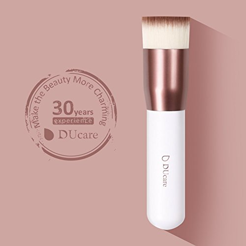DUcare Kabuki Foundation Brush Makeup Brushes Synthetic Professional Liquid Blending Mineral Powder Makeup Tools (Rose Golden and White)