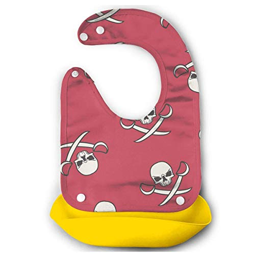 Skulls and Pirate Swords Rubber Baby Bibs Removable Unisex Bibs for Toddler Wipe,Easy Clean