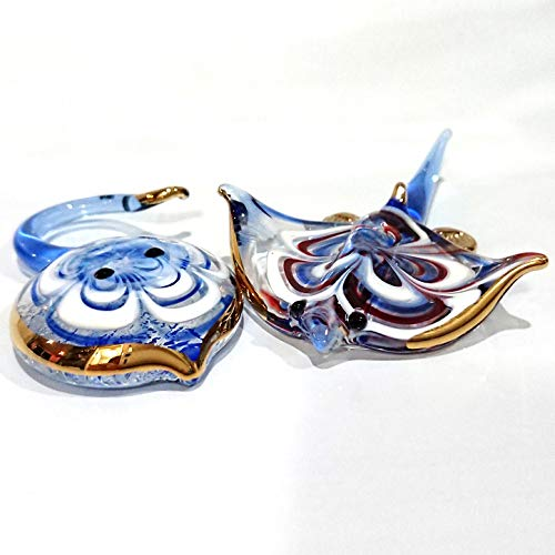 Sansukjai 2 Manta Ray Fish Miniature Figurines Animals Murano Glass Hand Blown Glass Art 22k Gold Trim Collectible Gift Decorate
