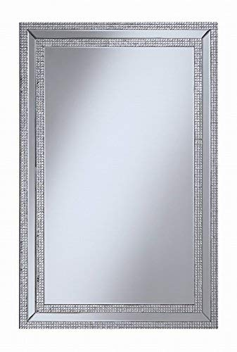 Coaster Home Furnishings Contemporary Jeweled Frame, Silver Wall Mirror by Coaster Home Furnishings