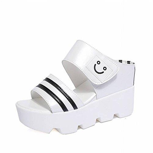 Slender de Suela Tipo Muffins 35 Female de Femenino Blanco de con Gruesa Zapatillas Femeninas Zapatos de Mujer Sandalias TYERY Antideslizantes OBZnq6wWZ