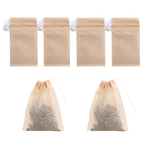 - 400 Pack Disposable Drawstring Tea Filter Bags Safe & Natural Unbleached Paper Tea Infuser Drawstring Empty Bag for Loose Leaf Tea (natural color one size)