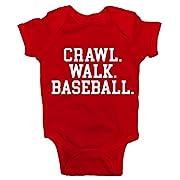 Southern Designs Crawl Walk Baseball Baby Romper (Newborn, Red)
