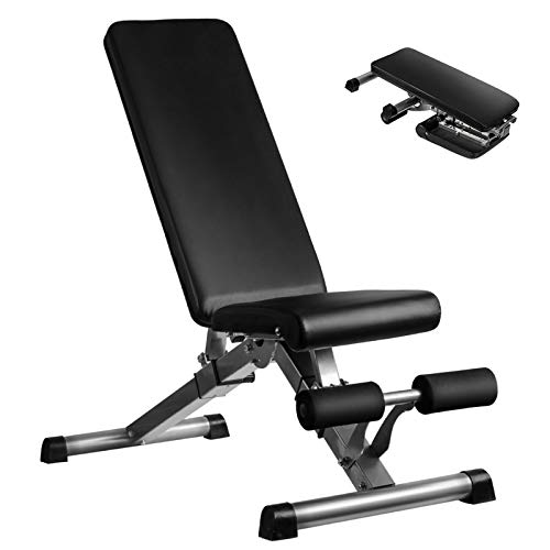 Adjustable Weight Bench, Utility Workout Bench for Home Strength Training, Flat Incline Decline Exercise Workout Bench…