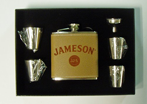 (Jameson Whiskey engraved leather covered stainless steel 6 oz flask with 4 shot glasses and a funnel in a black presentation box)