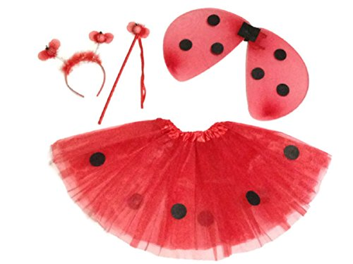 KWC - 4 pcs Ladybug Costume Set - Wings, Tutu, Antennas (Headband) & (Lil Ladybug Infant Costume)