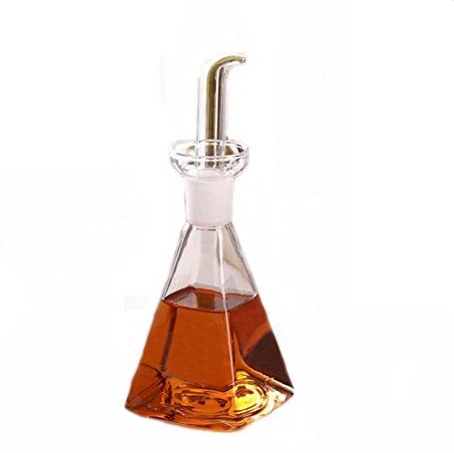 Oil 14 Ounce Jar - Eleton Square Bottom 14 oz Oil & Vinegar Cruet with Drip-free Spouts,Kitchen Clear Glass Oil Bottle Jar