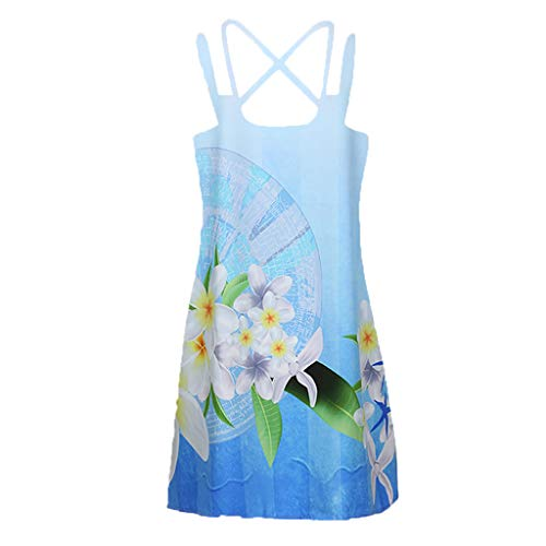 EOWEO HOT!Women Dress, 2019d Vintage Boho Women Summer Sleeveless Beach Printed Short Mini Dress(Small,Blue) by EOWEO (Image #2)
