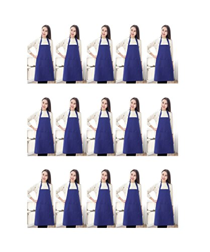 TSD STORY Total 15 PCS Plain Color Bib Aprons Adult Bulk with 2 Front Pockets Deep Blue (Blue Bib Apron)