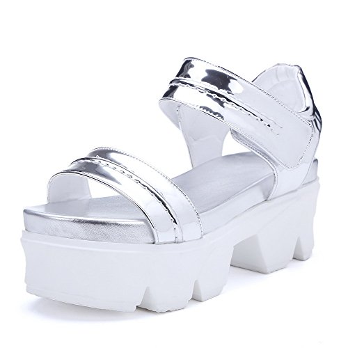 AgooLar Women's Hook And Loop Open Toe High Heels Blend Materials Solid Sandals Silver