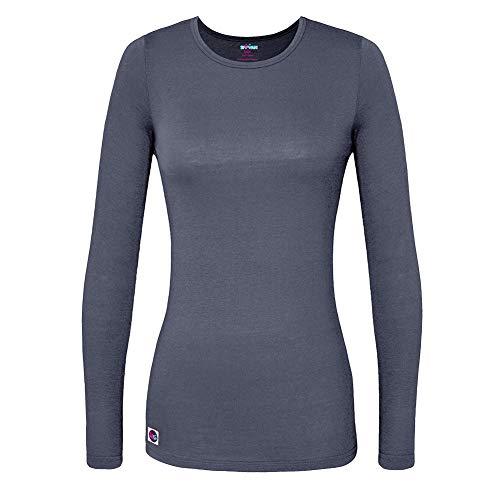 Sivvan Women?S Comfort Long Sleeve T-Shirt/Underscrub Tee, Charcoal, LARGE