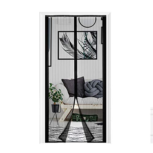 - Homitt Cuttable Magnetic Screen Door Mesh Curtain Dimension Adjustable with Push Pins for Reinforcement, Keep Fresh Air in (Fits Door Size 30