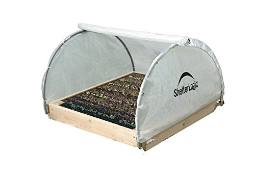 Shelter Logic 70617 Round Raised Bed Greenhouse with Fully Closable Cover, 4 x 4 x 1-Feet 11-Inch