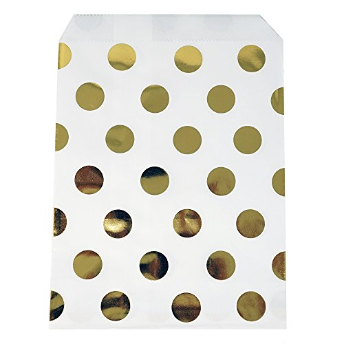Chloe Elizabeth Food Safe Biodegradable Paper Candy Favor & Treat Bags For All Parties - 48 Count Assorted, 7x5 Size (Gold Foil Polka Dots)