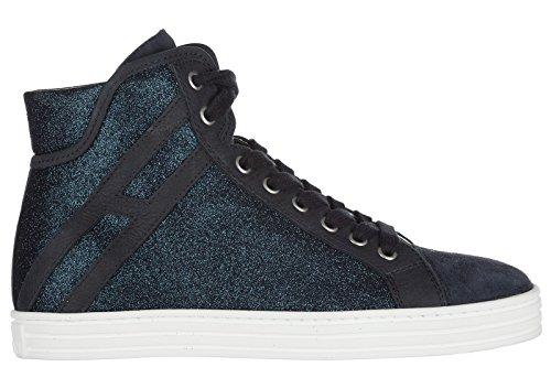 HOGAN REBEL Womens Shoes High Top Suede Trainers Sneakers r182 Blu