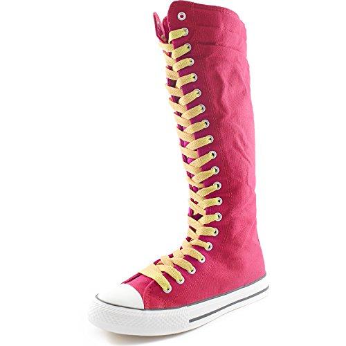 Dailyshoes Toile Femme Mi-mollet Bottes Hautes Casual Sneaker Punk Plat, Moutarde Jaune Bottes Fuchsia, Dentelle Jaune Moutarde