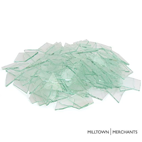 Milltown Merchants™ Clear Glass Cobbles (1 Pound) – Transparent Stained Glass – Broken Glass for Stepping Stones, Crafts, and Mosaic Making