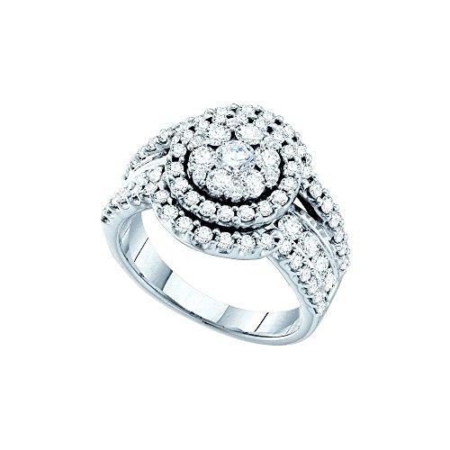 Roy Rose Jewelry 14K White Gold Ladies Diamond Cocktail Ring 2 Carat tw ~ Size 7 2ct Tw Diamond Setting