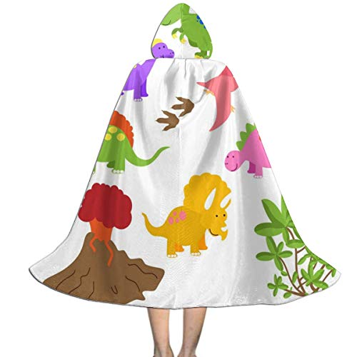 MFLLY Halloween Costumes Printable Dinosaur Hooded Witch Wizard Cloak for Kids ()