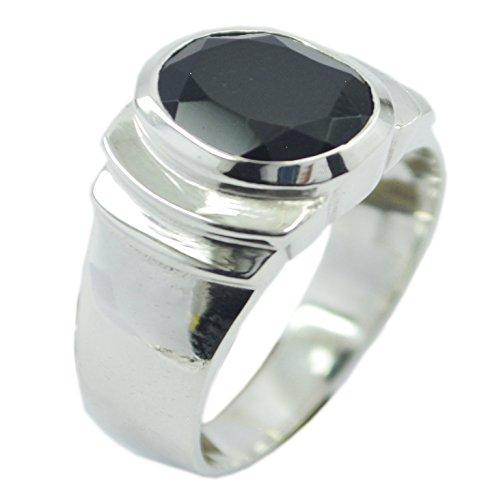 55Carat Natural Black Onyx Sterling Silver Men Handmade Ring Oval Shape Astrology US 4,5,6,7,8,9,10,11,12