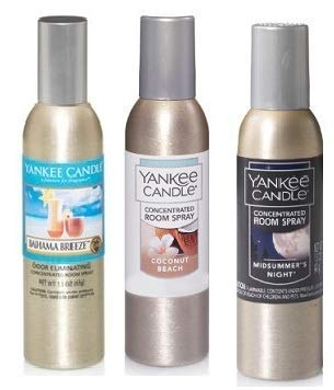 Yankee Candle 3 Pack Summer Favorites Fragrances. Bahama Breeze, Coconut Beach and Midsummer's Night Concentrated Room Spray 1.5 Oz.