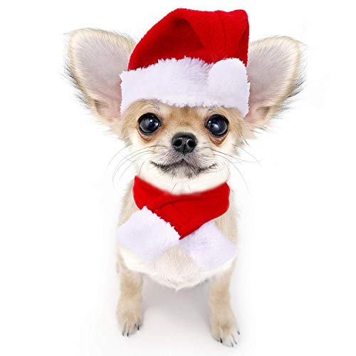 lcfun Christmas Cat Costume Santa Hats with Scarf for Small Dogs,Pets Clothes for Holiday Party -