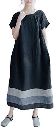 [해외]VONDA 여성용 코 튼 여름 원피스 반 소매 도킹 ロングワンピ 심플 A 라인 성인 아기 / VONDA Ladies Cotton Summer One Piece Short Sleeve Docking Long One-Piece Simple A-Line Adult Cute