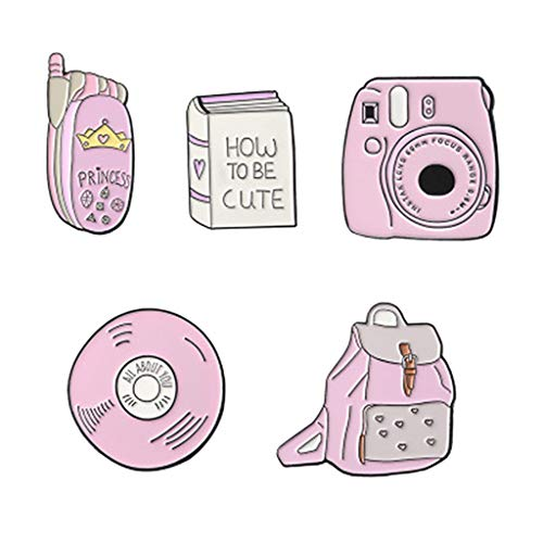perfektchoice 5 Pieces Cute Enamel Lapel Pin Set Cartoon Phone Bags Book Brooch Pin Badges for Women Girls Boys for Clothing Bags Backpacks from perfektchoice