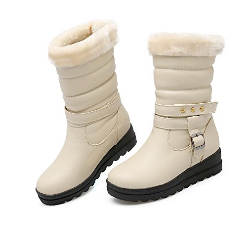 Pull Beige On Closed Material WeiPoot Round Toe Boots Women's Kitten Heels Soft Top Low qYY1ItO