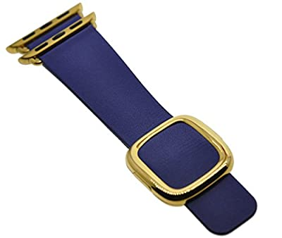 JSGJMY Apple Watch Band 38mm Cuff Leather Loop Original Modern Buckle With Magnetic Clasp Replacement Strap for iwatch Series1 Series2 (Midnight Blue+Gold Buckle, 38MM M)