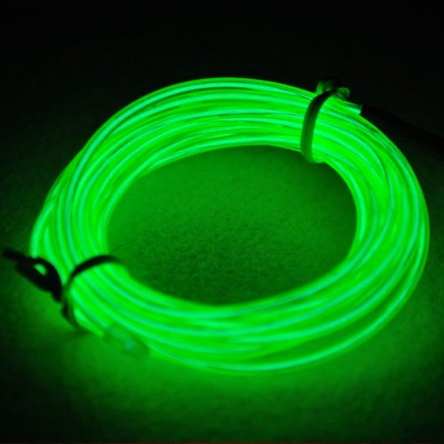 RioRand RR-NL-EW-HD Neon Glowing Strobing Electroluminescent Light El Wire with Battery Pack for Parties, Halloween Decoration (Green, 15ft)