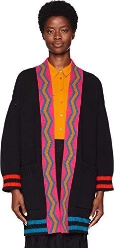 M Missoni Women's Multicolor Stripe Cardigan Jacket Black Medium