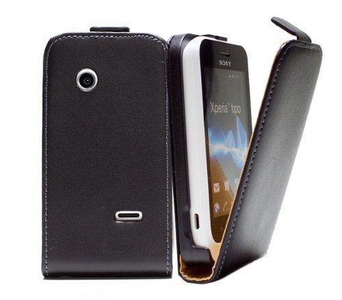 Original Numia Design Luxus Bookstyle Handy Tasche Sony Xperia Tipo / ST21i Schwarz mit Magnetverschluss + Trageband Handy Flip Style Case Tasche Cover Gehäuse Etui Bag Schutz Hülle NEU
