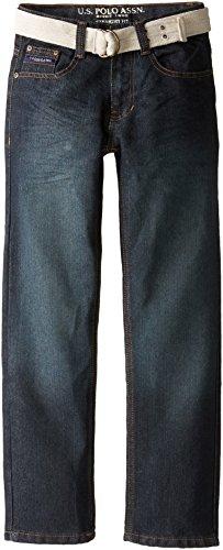 U.S. Polo Assn. Big Boys' Belted Five Pocket Jeans, Vision Wash, (Belted Five Pocket Jeans)