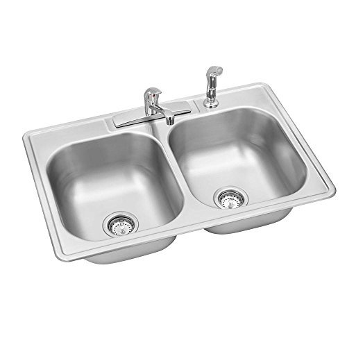 Elkay Swift Install All-in-One Drop-In Stainless Steel 33 in. 4-Hole Double Bowl Kitchen Sink by Elkay