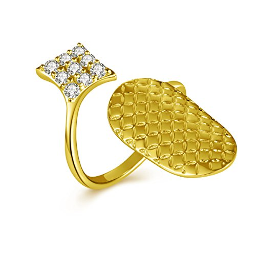 IcedJewels 0.46 cttw Round CZ 14K Yellow Gold Nail Finger Tips Ring, 8 14k Yellow Gold Nail