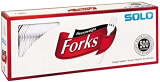product image for SOLO CUPS 827263 Heavyweight Plastic Cutlery, Forks, White, 6.41 in, 500/Carton