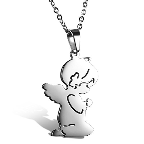 Cupimatch Girls Stainless Steel Necklace Cute Prayer Guardian Angel Pendant with 18