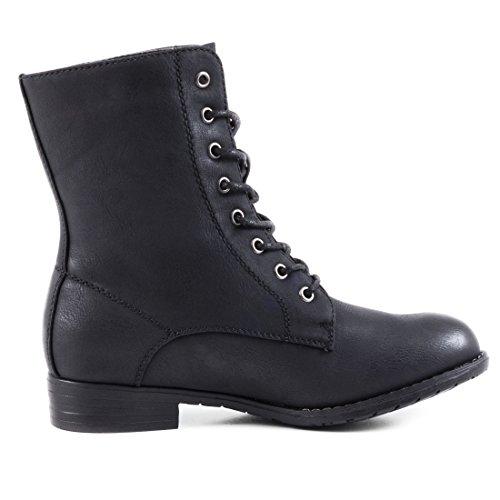 Stylische Basic Schnür Boots Stiefeletten in hochwertiger Lederoptik Schwarz Glattlederoptik