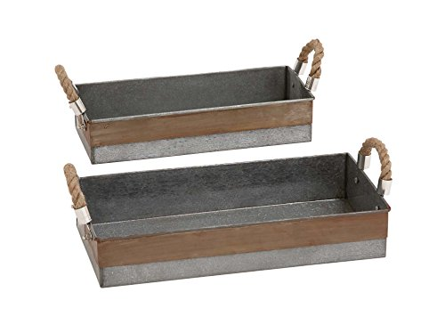 Deco 79 Antique and Classy Set of Two Galvanized Tray