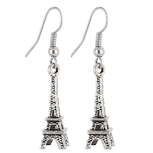 Eiffel Tower Dangle Pierced Fish Hook Earrings Pair Silver Tone