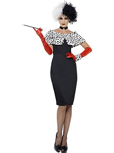 Smiffy's Women's Evil Madame Costume, Dress, Gloves, Shrug, Cuff and Choker, Wings and Wishes, Serious Fun, Size 14-16, 32806