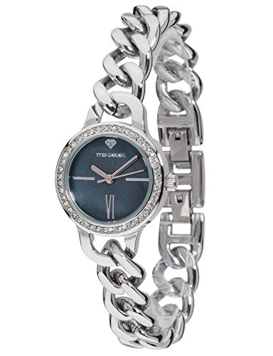 Yves Camani Burgaudine Women's Wrist Watch Quartz Analog Stainless Steel Silver Black Dial Mother Of Pearl