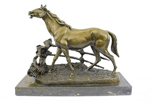 Handmade European Bronze Sculpture Whinny Stallion Arabian Horse by Mene Marble Base Figure Bronze Statue -JPSTE-327-Decor Collectible Gift by Bronzioni