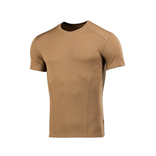M-Tac Mens Shirt - Tactical Workout - Round Neck - Short Sleeve t-Shirt (Coyote Brown, M) (Long Tee Fatigue Compression Sleeve)