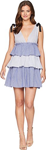 Romeo & Juliet Couture Women's V-Neckline Tiered Midi Dress Blue/White Small (Romeo Juliet Couture Dresses)