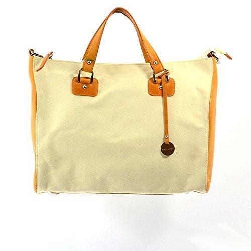Pulicati Damenhandkoffer aud Stoff und Leder Farb: Ockergelb
