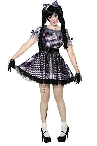 Forum Novelties Unisex Child Broken Doll Costume Dress, Black, White One Size -